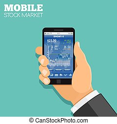 Mobile stock market Concept. Hand holds smartphone with...