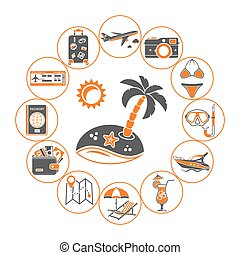 Vacation Time and Tourism Concept in Flat style two color...