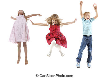 jumping children - group of 5 year old happy children...