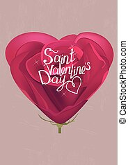 Rose greeting card with phrase Saint Valentine's day. Template for festive design, announcements, advertisement.