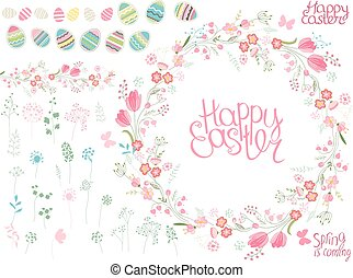 Round frame with pretty flowers and text Happy Easter. Festive floral circle for your season design.