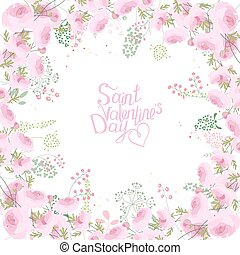 Rose greeting card with phrase Saint Valentine's day