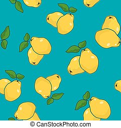 Seamless Pattern , Quince on Azure Background - Seamless...