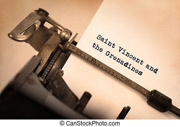 Old typewriter - Saint Vincent and the Grenadines -...