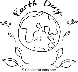 Sketch planet Earth in black and white colours to celebrate Earth Day