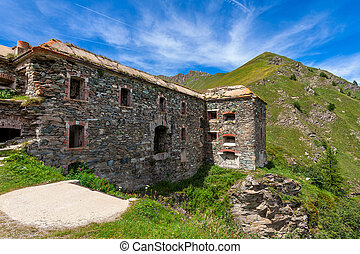 Old military fort in the mountains. - Old abandoned military...