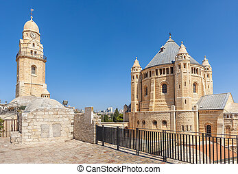 Dormition Abbey in Old City of Jerusalem. - Exterior view of...