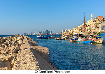 View of old Jaffa, Israel. - View from breakwater on small...