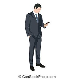 Business man writing sms on mobile phone, flat design vector...