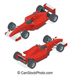 Isometric red sport car or Formula 1 Car. Flat 3d isometric illustration. For infographics and design