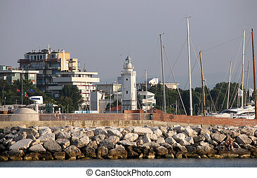 lighthouse Rimini Italy summer season