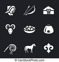Vector Set of Nomad Icons. - Herdsman, bow and arrow, yurt,...