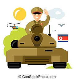 Vector Tankman North Korea. Flat style colorful Cartoon...