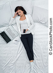 Young Woman Work at Home Concept - Young woman stressed...