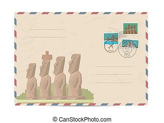 Vintage postal envelope with stamps - Moai statues from...