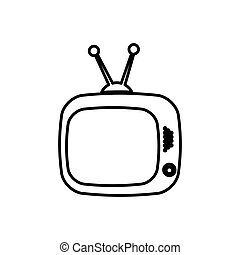 old television with antenna icon