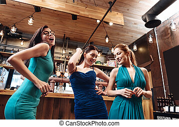 Sexy young females while dancing