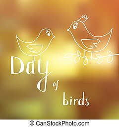 Two cartoon birds in honor of bird day, the relationship of mother and child, boy and girl on a Sunny summer background