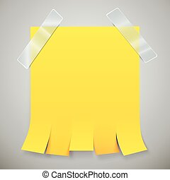 Blank yellow advertisement with tear off tabs and adhesive...