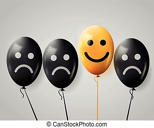 One happy face in crowd of sad. Happy and sad balloons.