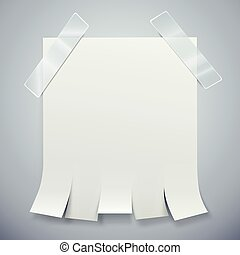 Blank advertisement with tear off tabs and adhesive tape. Ad...
