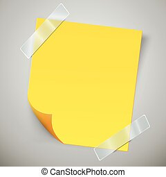 Yellow sticky note with the curled corner and adhesive tape.