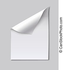 Blank paper sheet with page curl. Note, idea or office...