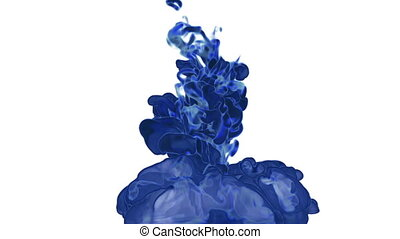 Close-up blue ink being poured into water in slow motion with alpha mask. Use it for background, transition or overlays. 3d motion graphics element VFX ink or smoke. Version 5