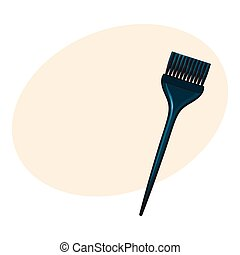 Color mixing plastic hairdresser brush, hairbrush, sketch style vector illustration