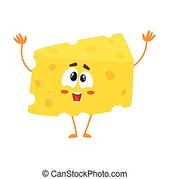 Cute and funny greeting, welcoming cheese chunk character