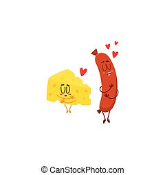 Funny cheese chunk and frankfurter sausage characters showing love