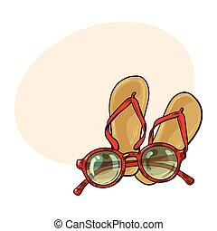 Pair of flip flops and fashionable round sunglasses, beach...