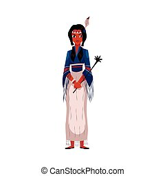 Native American Indian woman in national fringed shirt and skirt