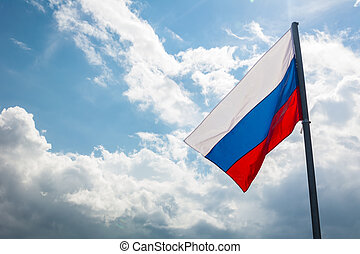 Russian flag on the beautiful sky - Russian flag on the...