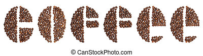 word coffee written in coffee beans typeface on white...