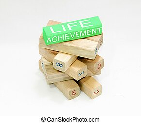 life achievement - this is a image of wood bricks with added...
