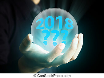 Future concept of year 2018 in crystal ball