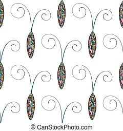Abstract stylized cockroaches pattern. Hand drawn beetles vector background.