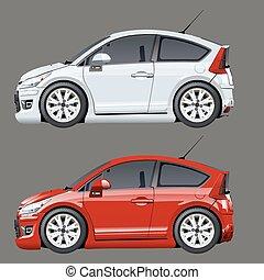 Cartoon vector cars - Vector cartoon cars isolated on gray....