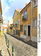 Street  in old town of Lisbon, Portugal