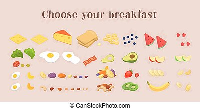 Healthy breakfast food icons collection. fruits and berries, nut