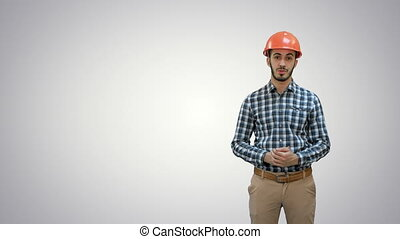Construction worker enlisting factors for success on white...