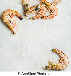 Uncooked tiger prawns on chipped ice, square crop - Raw...