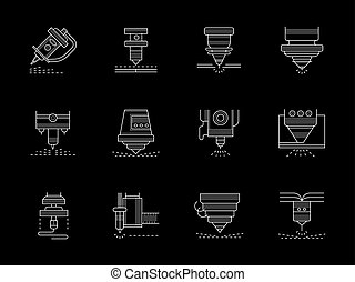 Metalworking lasers flat white line vector icons - Different...
