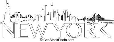 New York City skyline Vector Outline - Vector of the New...