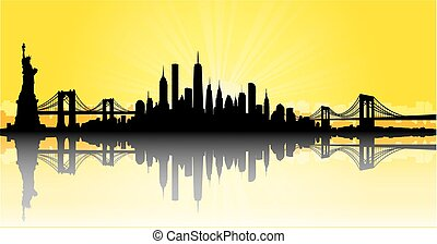Yellow New York City skyline Vector - Vector of the New York...