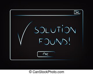 vector pop-up with message Solution Found and tick, ERP &...
