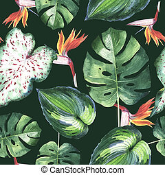 Tropical Hawaii leaves palm tree pattern in a watercolor style isolated.