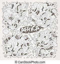 Vector doodle cartoon set of Africa designs - Line art...