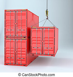 Shipping containers with crane hook
